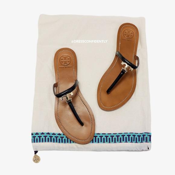Tory Burch T Logo Flat Thong Leather Sandals